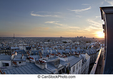 paris rooftops - view of paris skyline from a high vantage...
