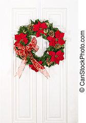 Christmas flower wreath on door - Christmas flower wreath...