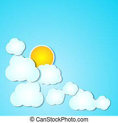 Paper clouds with sun  illustrated background on blue.