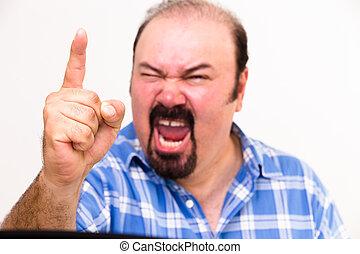 enojado, cuarentón, hombre, estridente, amenazador