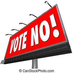 投票, 廣告欄, 不, 紅色, 簽署