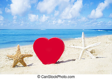 Heart and starfishes on the sandy beach - Heart shape and...