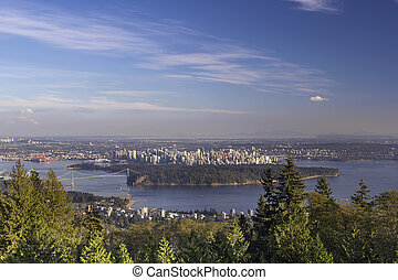 Vancouver BC Cityscape and Stanley Park - Vancouver BC...