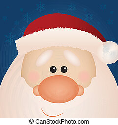 Santa Claus - cute santa Claus face on special blue...