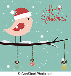 Merry Christmas text and cute bird on special blue...