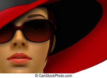 Women Mannequin in Red with Hat and Shades