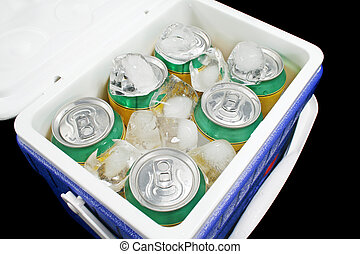 Drink Cooler 1 - Icy cold cans of drink in a plastic cooler.