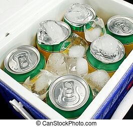 Drinks Cooler - Drink cans covered in ice in a drinks cooler...