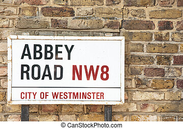 Abbey Road sign - Abbey Road Sign, London, UK.