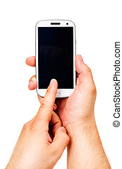 holding a modern touch screen phone