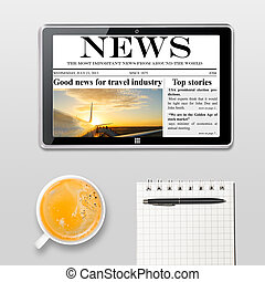 coffee break - tablet computer with news and cup of coffee...