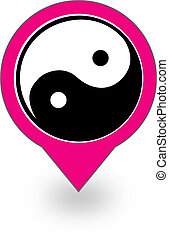Placement with ying and yang symbol