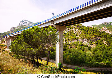 Road bridges in mountains