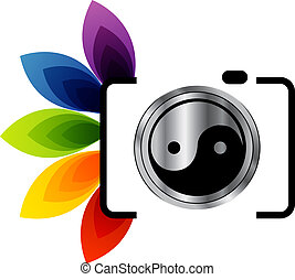 Digital Camera- photography logo with ying yang symbol