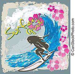 surfer girl spirit - surfing sport vector for T-shirt...