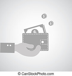 Wallet symbol on gray background