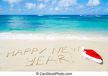 Sign quot;Happy new yearquot; with christmas hat on the...
