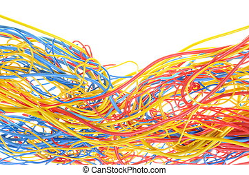 Tangled cables in telecommunication networks isolated on...
