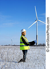 engineer with wind turbines