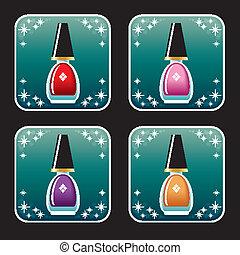 Set of icons of nail polish.