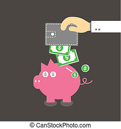 Piggy bank and wallet vector cartoon