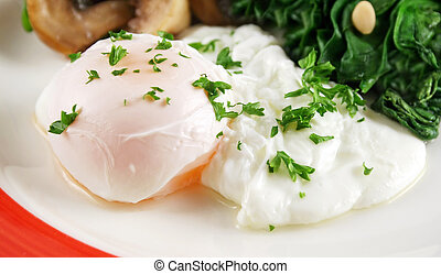 Poached Egg Breakfast - Poached egg breakfast with blanched...