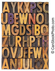 wood type alphabet - random letters of alphabet - vintage...