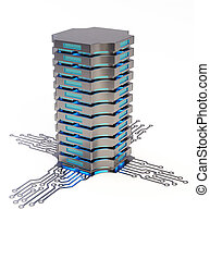 Server 3D concept - Abstract server processor isolated on...