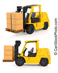 Fork Lift Trucks - Fork lift trucks isolated on white
