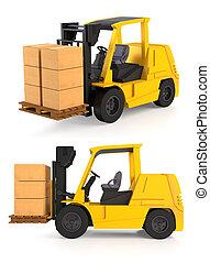 Fork Lift Trucks - Fork lift trucks isolated on white
