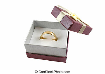 Ring Gift Box 3 - Gold wedding band set in a ring gift box