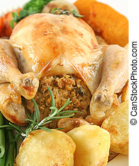 Roast Chicken And Vegetables - Whole roast chicken with...