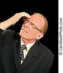 Shattered Businessman - Middle aged businessman shattered...