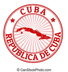 Cuba stamp - Grunge rubber stamp with the name and map of...