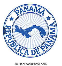 Panama stamp - Grunge rubber stamp with the name and map of...