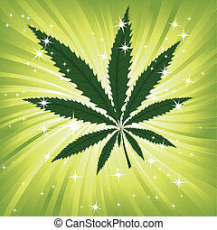 Green hemp floral inspiration background, cannabis leaf...