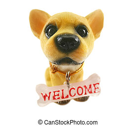 Welcome Dog - Cute ceramic dog with big head and welcome...