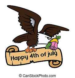 Happy 4th of july bald eagle banner