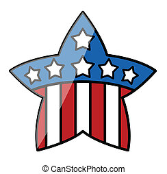 4th of July Star - Drawing Art of Retro 4th of July USA Flag...