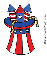 4th of july fireworks in Hat - Drawing Art of 4th of July...