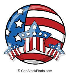 Patriotic USA Flag Icon vector