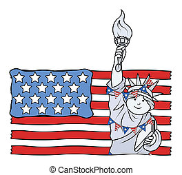 USA Flag with Statue of Liberty