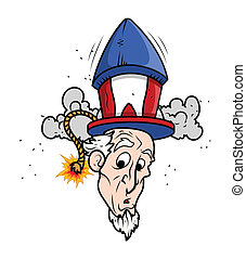 Funny Uncle Sam with Fireworks
