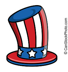 Uncle sam Hat Vector - Drawing Art of Retro Uncle Sam Hat...
