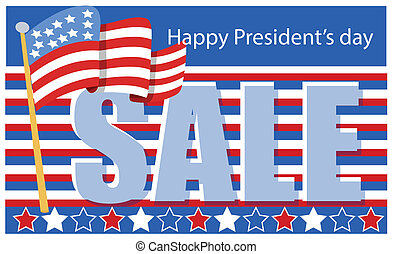 president day sale Banner with Flag - Drawing Art of...