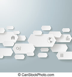 Infographic Long Hexagons 4 Options Line PiAd - Infographic...