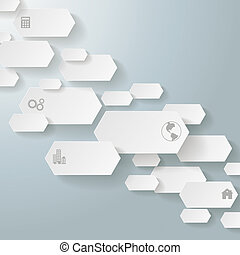Infographic Long Hexagons 5 Options