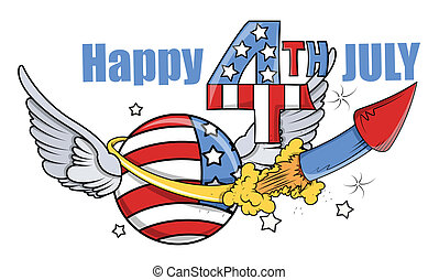 happy 4th of July Celebration - Drawing Art of happy 4th of...