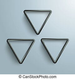 Three Black Triangles Radiactive Background - White and...