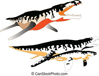 liopleurodon collection - vector - illustration of...